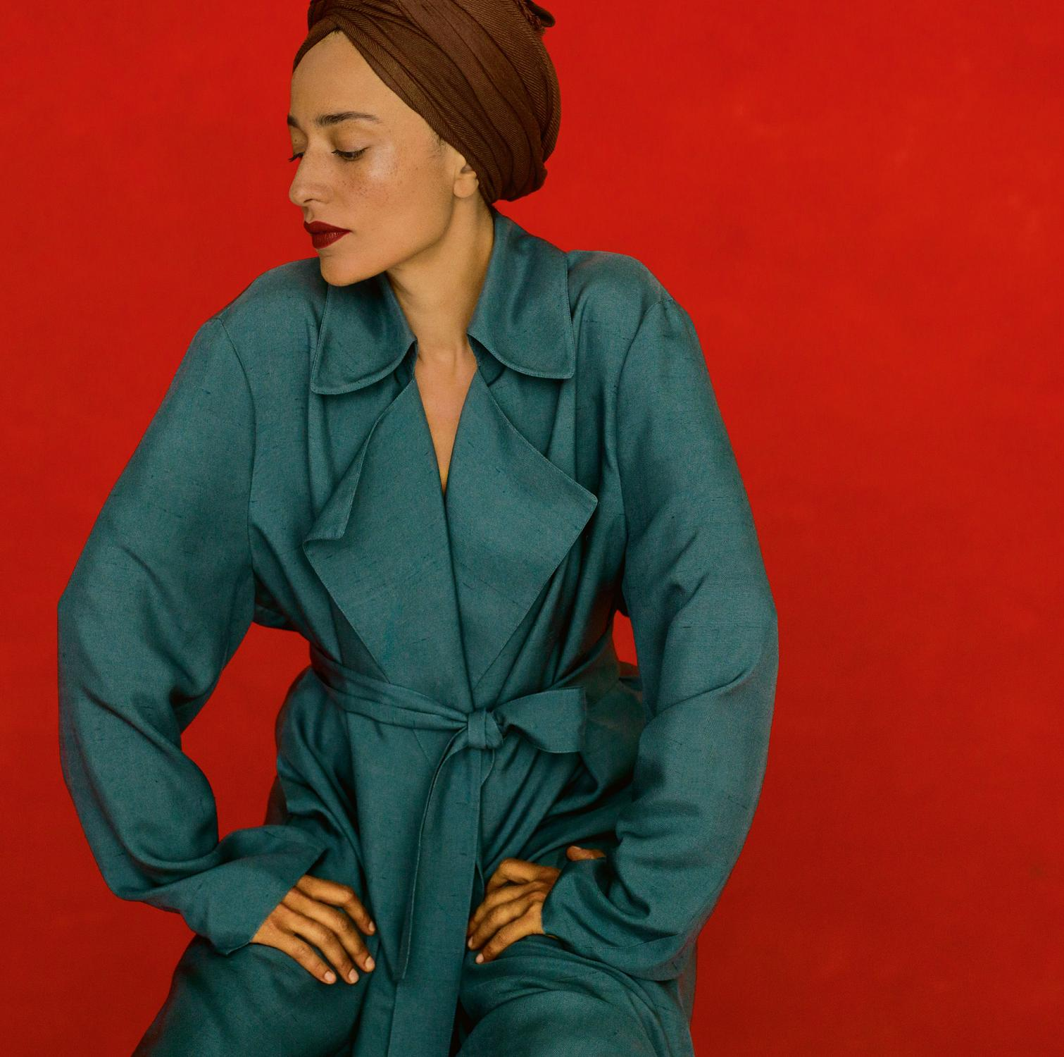 a8f72ad26 Here and in the opening image, Zadie's in a chrome blue extra-fine silk  shantung coat by THE ROW.